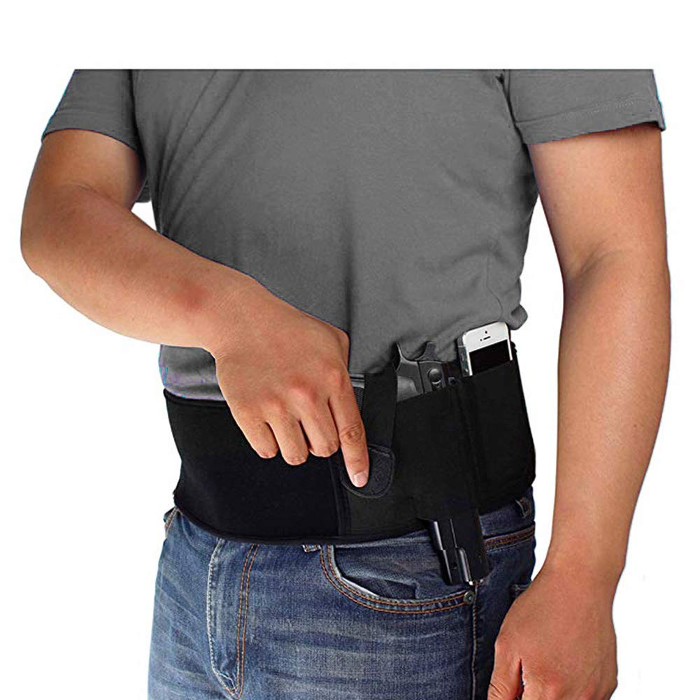 Belly Band Holster Tactical Waistband for Men Women Concealed Carry Pistols with Adjustable Comfortable Elastic Belt, Extra Pouch Invisible, Girdle Fit Hand Guns Stealthcarry