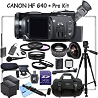 Canon VIXIA HF G40 Full HD Camcorder eDig Documentary Bundle: Includes Wireless Lapel & Handheld Microphone, Full Size Aluminum Tripod, HD Lenses & more...