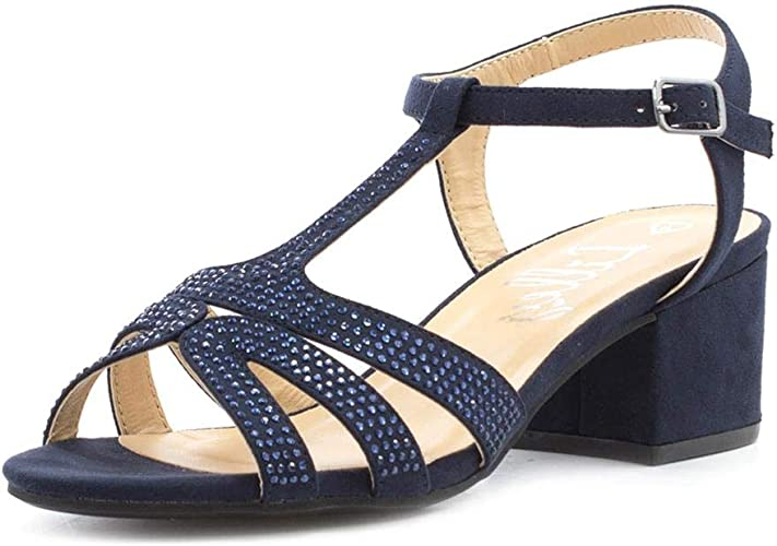 blue block heel sandals uk