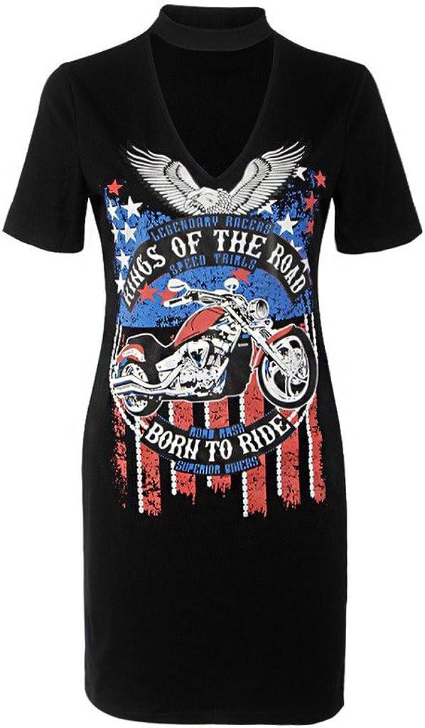 AEETE Womens Eagle Motorcycle Print Deep V Neck Short Sleeves T Shirt Dresses