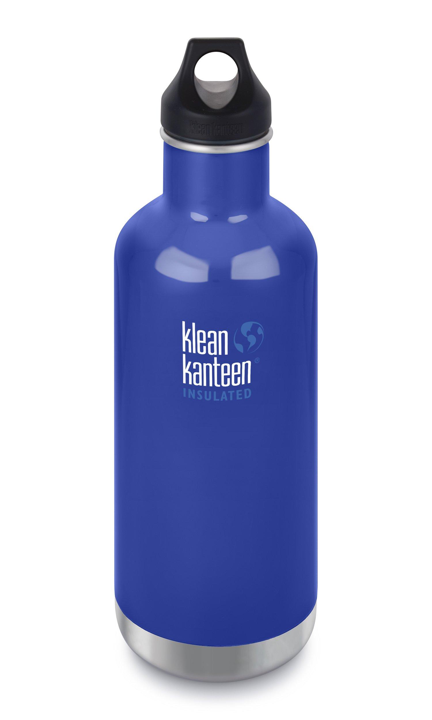 Klean Kanteen Classic Insulated Stainless Steel Water Bottle with Klean Coat and Leak Proof Loop Cap - 32oz - Coastal Waters