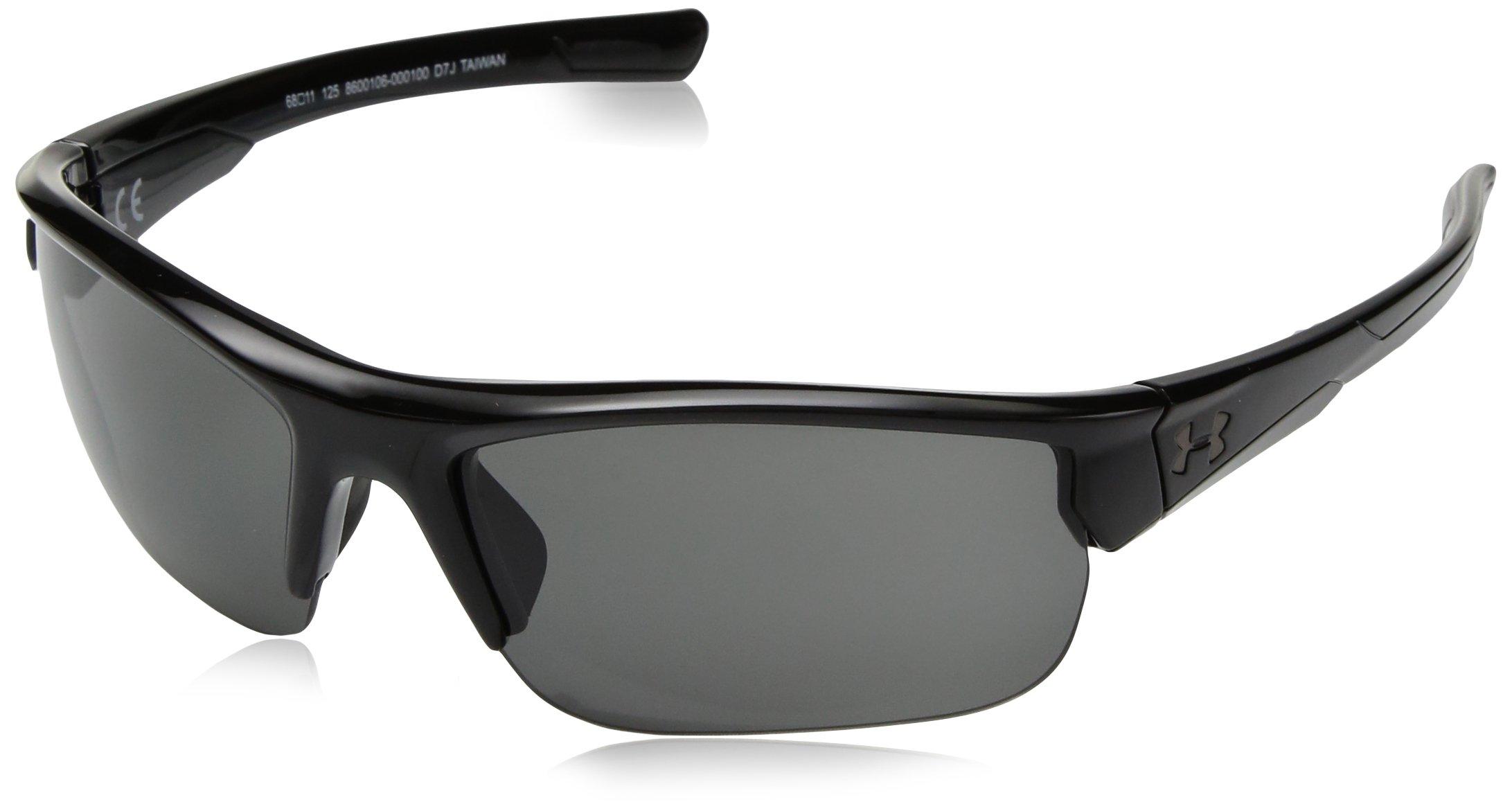 Under Armour UA Propel Wrap Sunglasses, UA Propel Shiny Black / Black Frame / Gray Lens, 68mm by Under Armour
