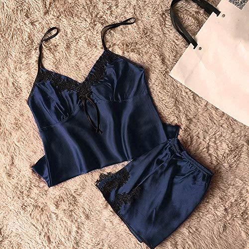 Mlide Women's Lace Satin Sleepwear Cami Top and Shorts Pajama Set Sleeveless Strap Trim Top 2 Piece,Navy S by Mlide Womens Sleepwear (Image #2)