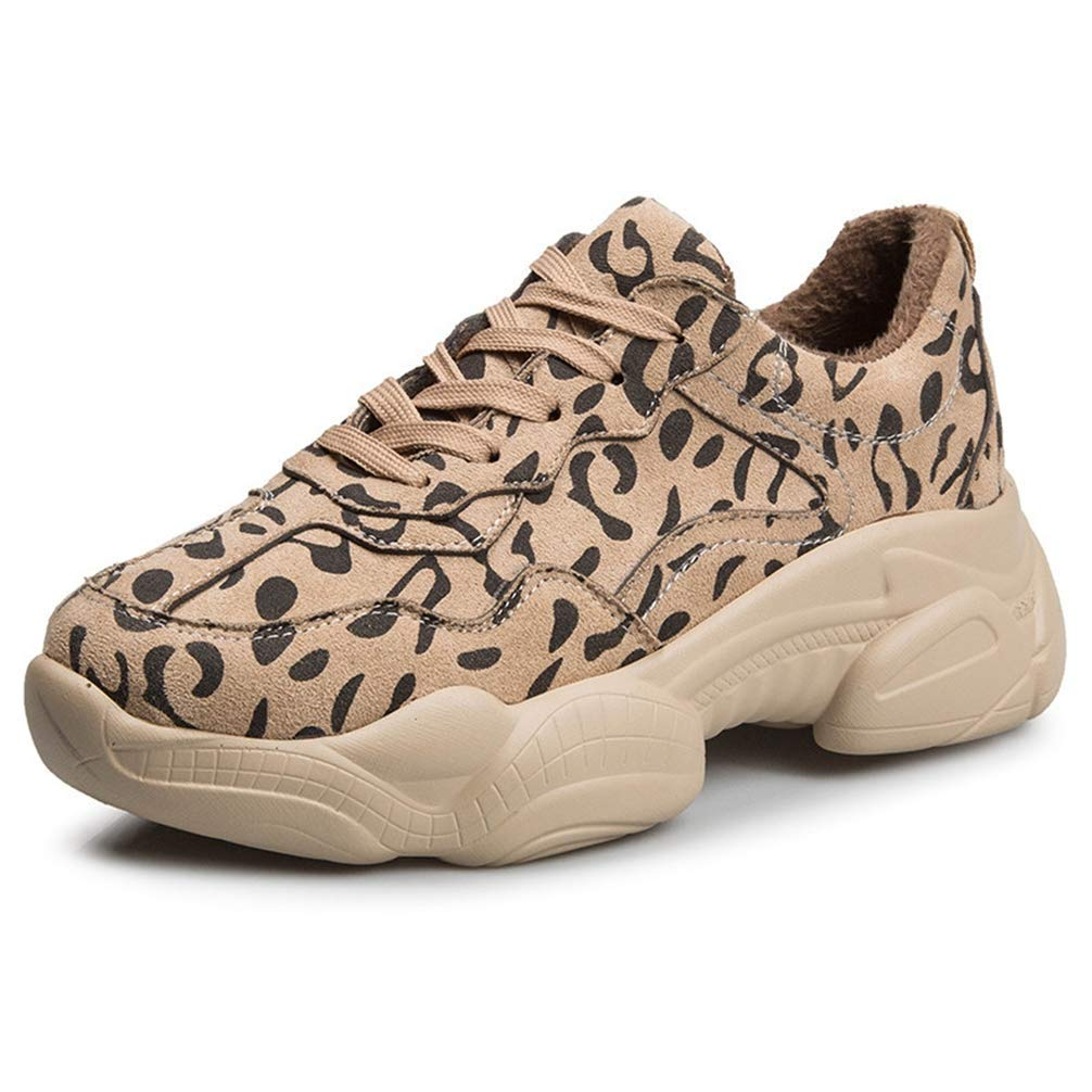 Women Classic Leopard Fashion Winter Plush Keep Warm Sneakers Ladies Casual Wedges Shoes to Wear with Dress No Grinding Feet for Woman Comfortable Apricot 7 M US Casual Shoes