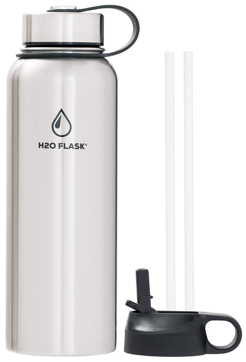 SilverOnyx H2O Flask Insulated Water Bottle, Stainless Steel Wide Mouth Double Wall 32oz & 40oz Hydro Jug, Leak-Proof w/ 2 Lids & 2 Straws, Vacuum Insulated Keeps Drinks Hot or Cold