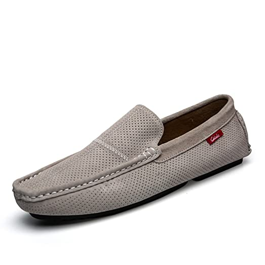Men's Loafers Casual Slip Ons Driving Office Work School Shoes Soft Leather Flats Grey US7
