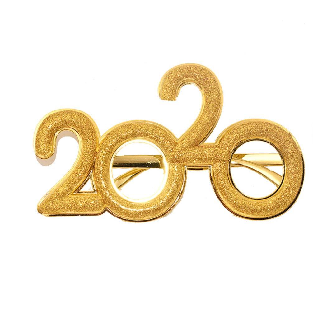 Amosfun 2020 Silvester Brille Neujahr Partybrille Glitzer Spa/ßbrille Party Foto Requisiten Verkleidung f/ür Kinder Erwachsene New Year Weihnachten Kost/üm Accessoires