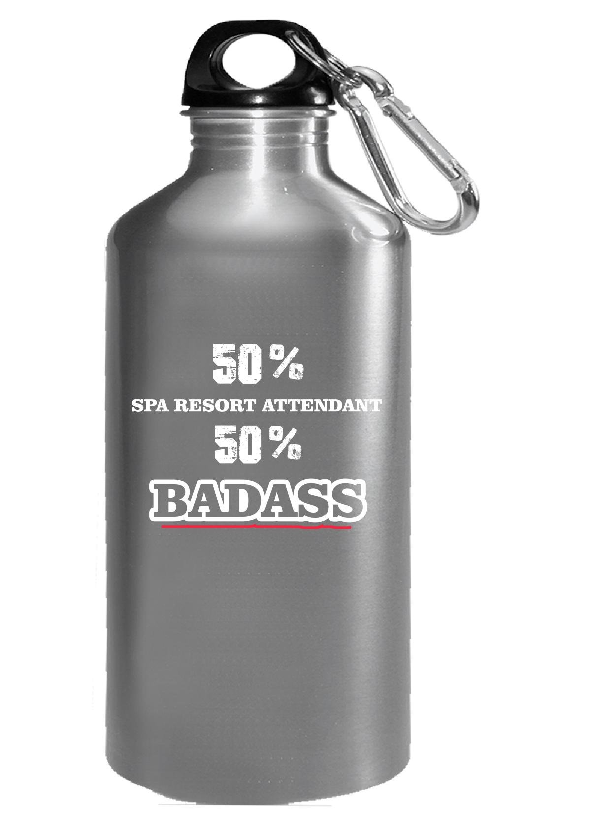 50% Spa Resort Attendant 50% Badass Cool Gift - Water Bottle