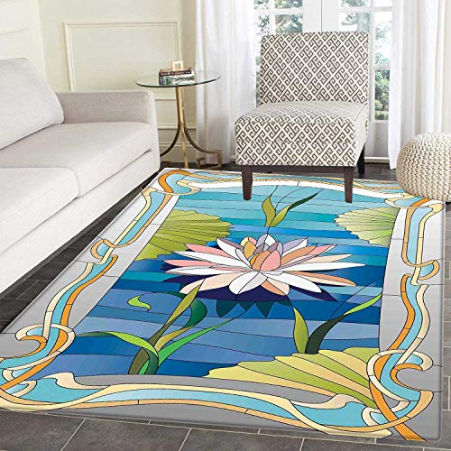 Lotus Garden Rug - Art Nouveau Area Silky Smooth Rugs Lotus on the Water Baroque Avant Garde Stylized Classic Architecture Pattern Home Decor Area Rug 4'x5' Multicolor
