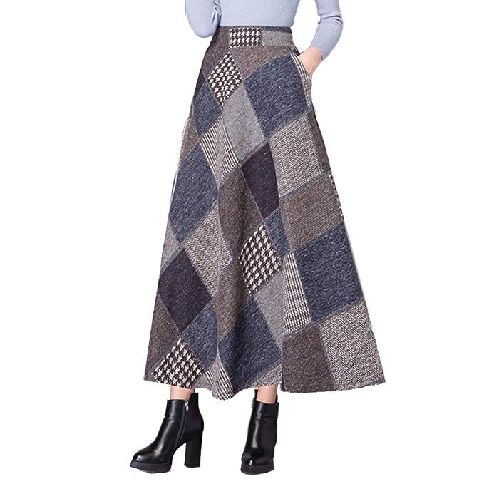 6fea4d566e Nantersan Women's Thicken Wool Long Skirt Fall Winter Vintage Plaid Maxi  Skirt A Line Elastic High