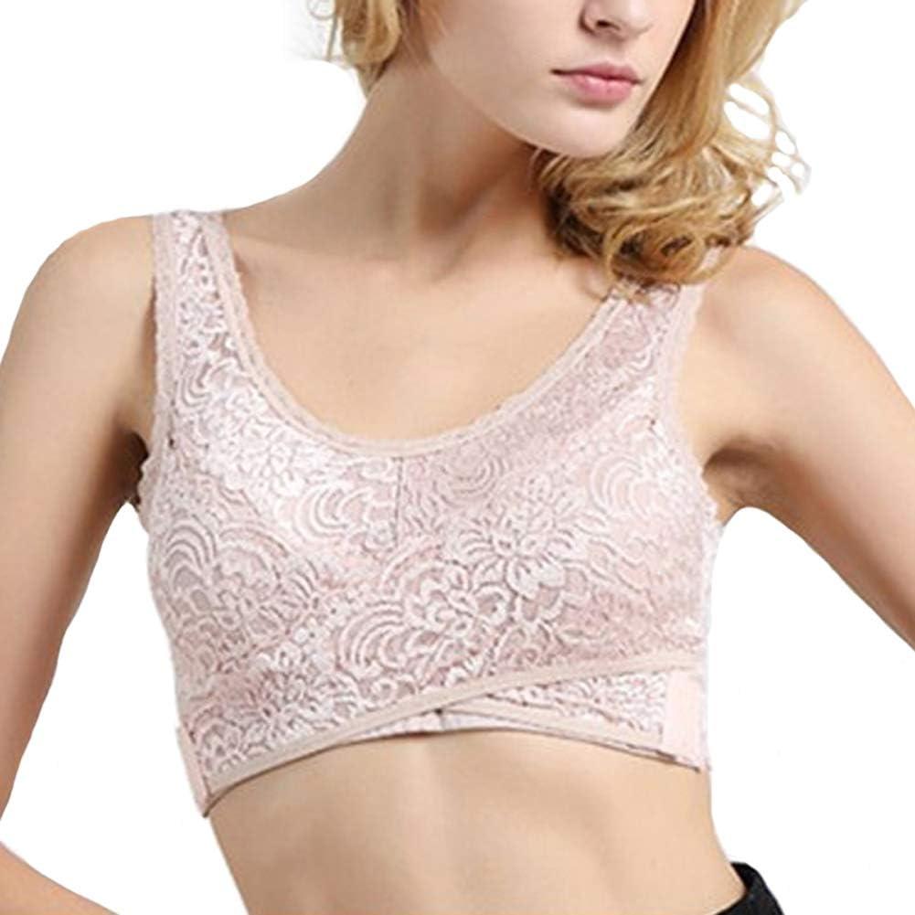 Aileney 1 Pcs Front Cross Side Buckle Wireless Lace Bra Breathable for Women Sport Yoga Blue