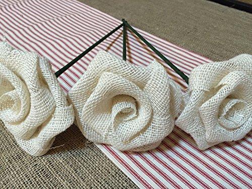 Set of Three White Burlap Stemmed Roses Stem Flower for Patriotic Bouquet Decor Rustic Wedding Venue (Stemmed Bouquet Long Rose White)