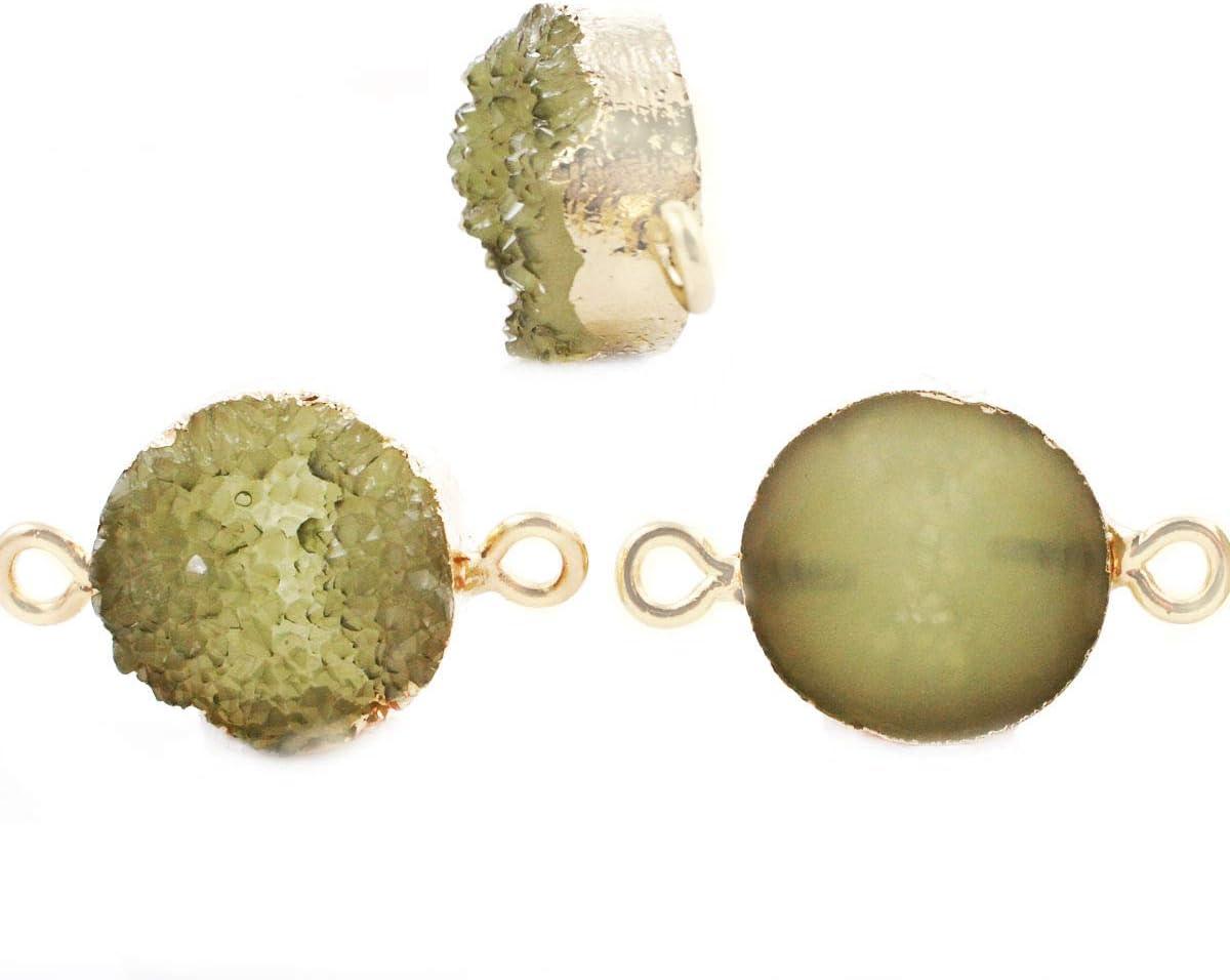 2pcs Olivino Verde Druzy piedra PRECIOSA de Imitación de Piedra de la Resina de Conectores bañados en Oro Pulsera Colgante de Metal Resultados de 13,5 mm x 23 mm