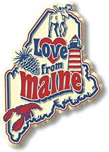 "Vintage""Love from Maine"" State Map Magnet"