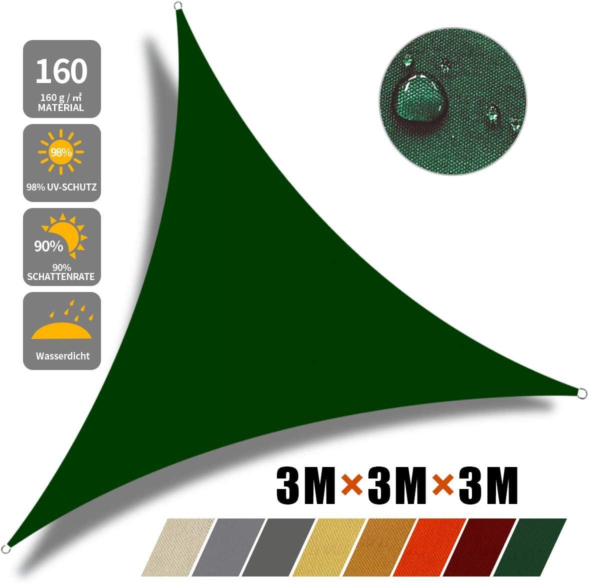 2/×2/×2m, Dunkelgr/ün Sonnensegel Sonnenschutz Sonnensegel/Wasserdicht UV-Schutz Polyester Sonnensegel f/ür Garten Balkon Terrasse Camping JYYnet Sonnensegel
