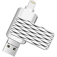 Lightning Flash Drive for iPhone,Suntrsi Pen Drive Lightning Memory Stick External Memory Storage OTG Flash Drive Compatible to iPhone,iPad,iPod,Mac,Android and PC (32G Silver)