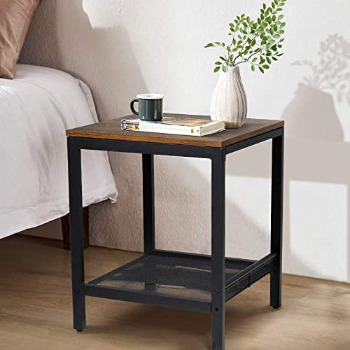 LTTROMAT Inch Square Side End Night Stand Coffee Table, with Storage Rack, Brown, 17.7L17.7W21.7H