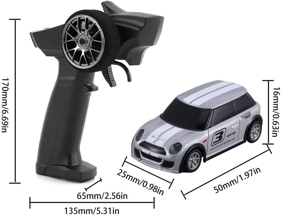 Shaluoman 1:76 Turbo Racing RC Mini Radio Remote Control Micro Car,Small Remote Control Car,Mini Full Proportional Electric Race RTR Car Kit for Boys and Girls Gray