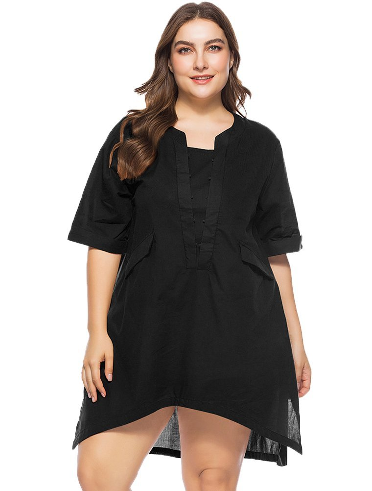 Mordenmiss Women's New Summer Side Slit Shirt Hi-Low Blouse Pockets 2XL Black