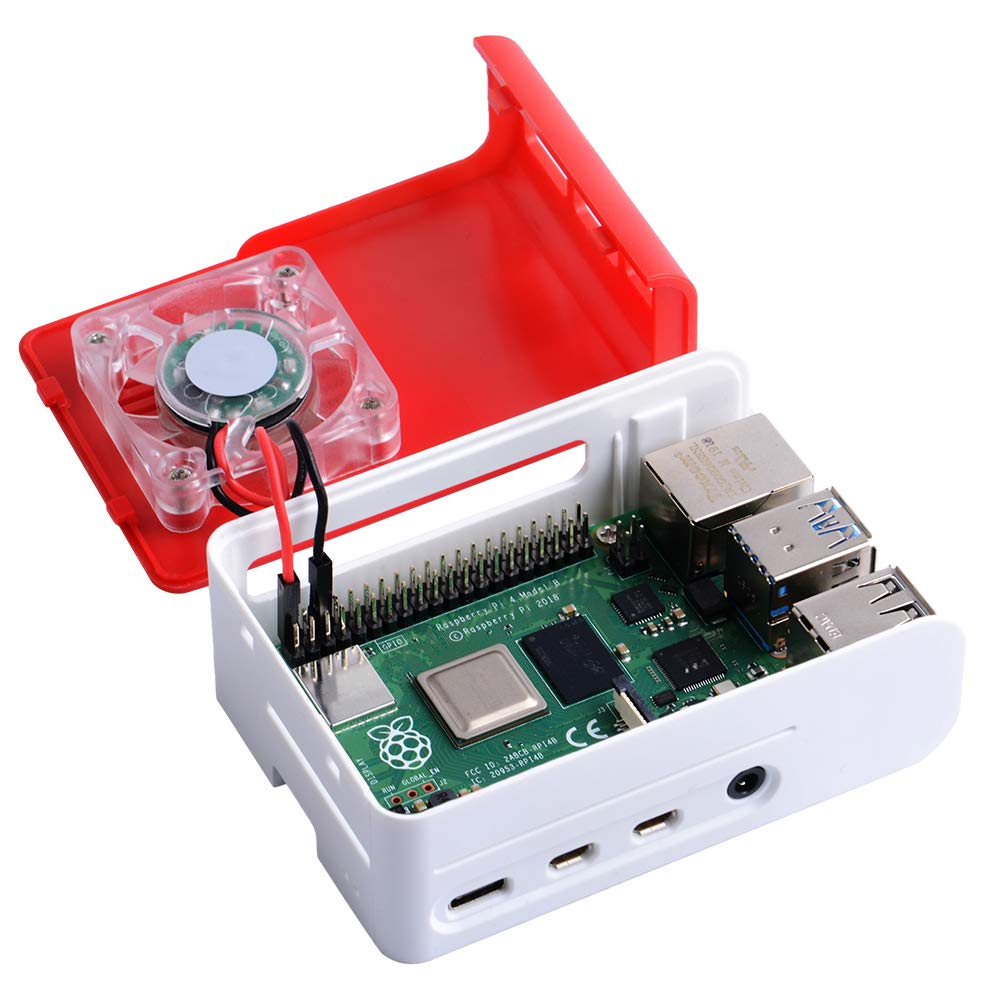 Raspberry Pi 4 Case with Fan 40x40x10mm Rasperry Pi Heatsink Raspberry Pi Fan Raspberry Pi Case for Raspberry Pi 4 Model B Red/&White owootecc Raspberry Pi 4b Case