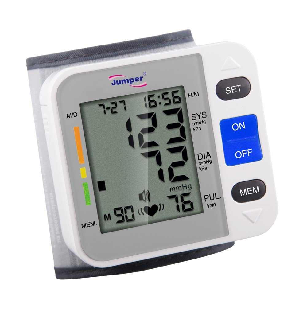 Jumper Automatic JPD-900W Medical Wrist Blood Pressure Monitor Cuff, Digital Electronic BP Meter Pulse Rate Irregular Heartbeat Measurement with Large LCD Display for Adult Senior Health Monitoring