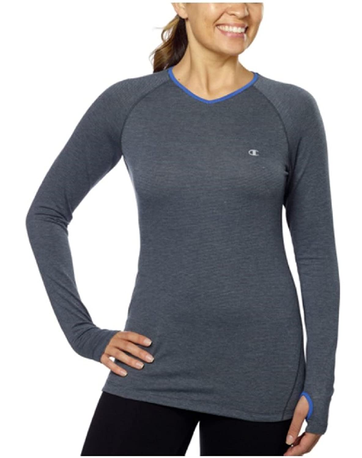 Womens Champion Active Yoga Athletic Long Sleeve Shirt (Large, Charcoal)