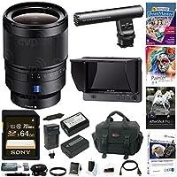 Sony 35mm f/1.4 ZA Lens w/ Clip-On Portable Monitor & Gun/Zoom Mic Bundle