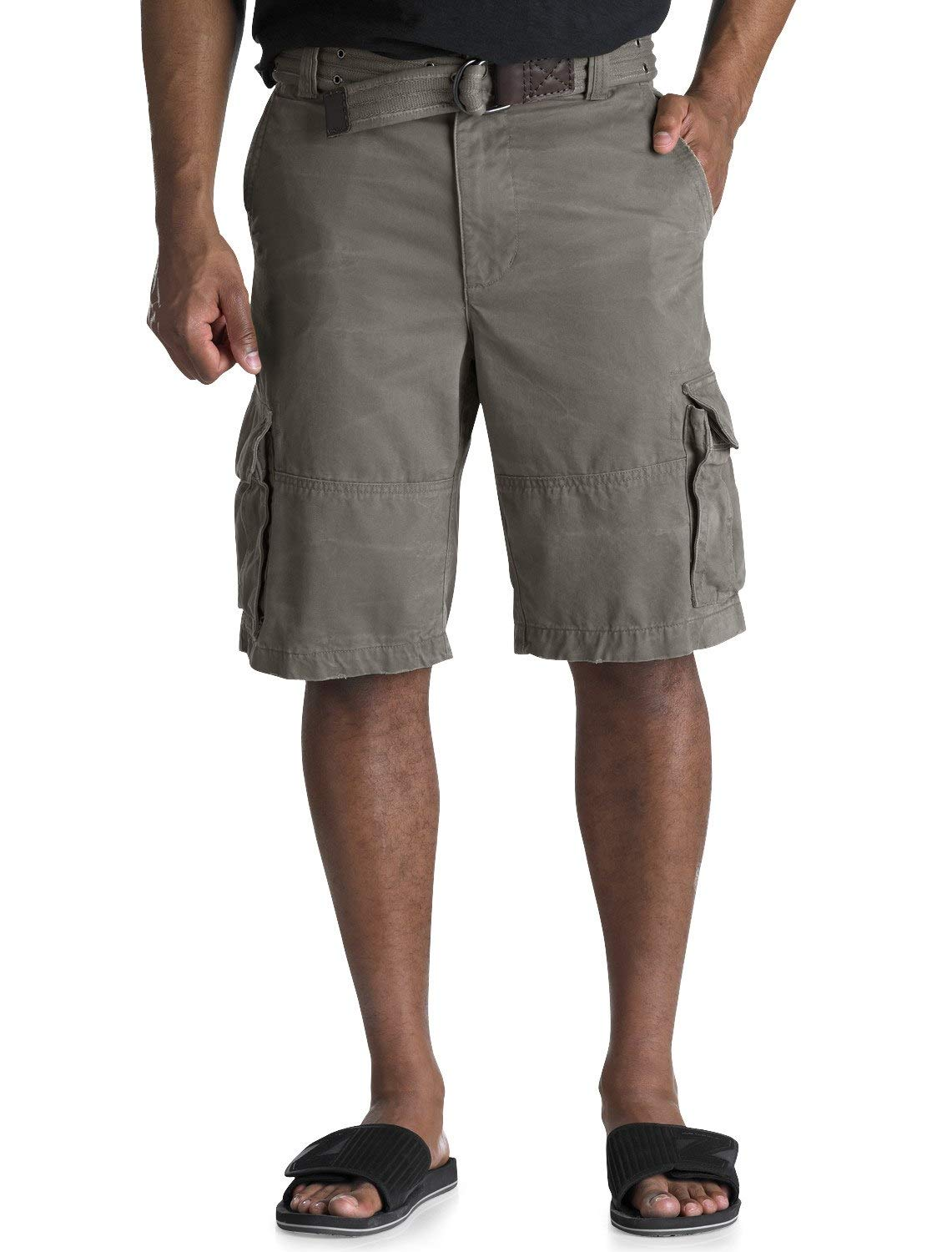 Society of One by DXL Big and Tall Rumpled Cargo Shorts, Heather Grey 50