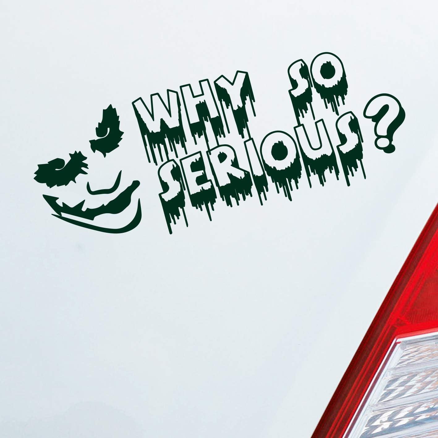 """Adesivo per auto colore a scelta con scritta /""""Why so serious?/"""" Adesivo per auto Joker per i fan di Batman 19 x 7 cm."""