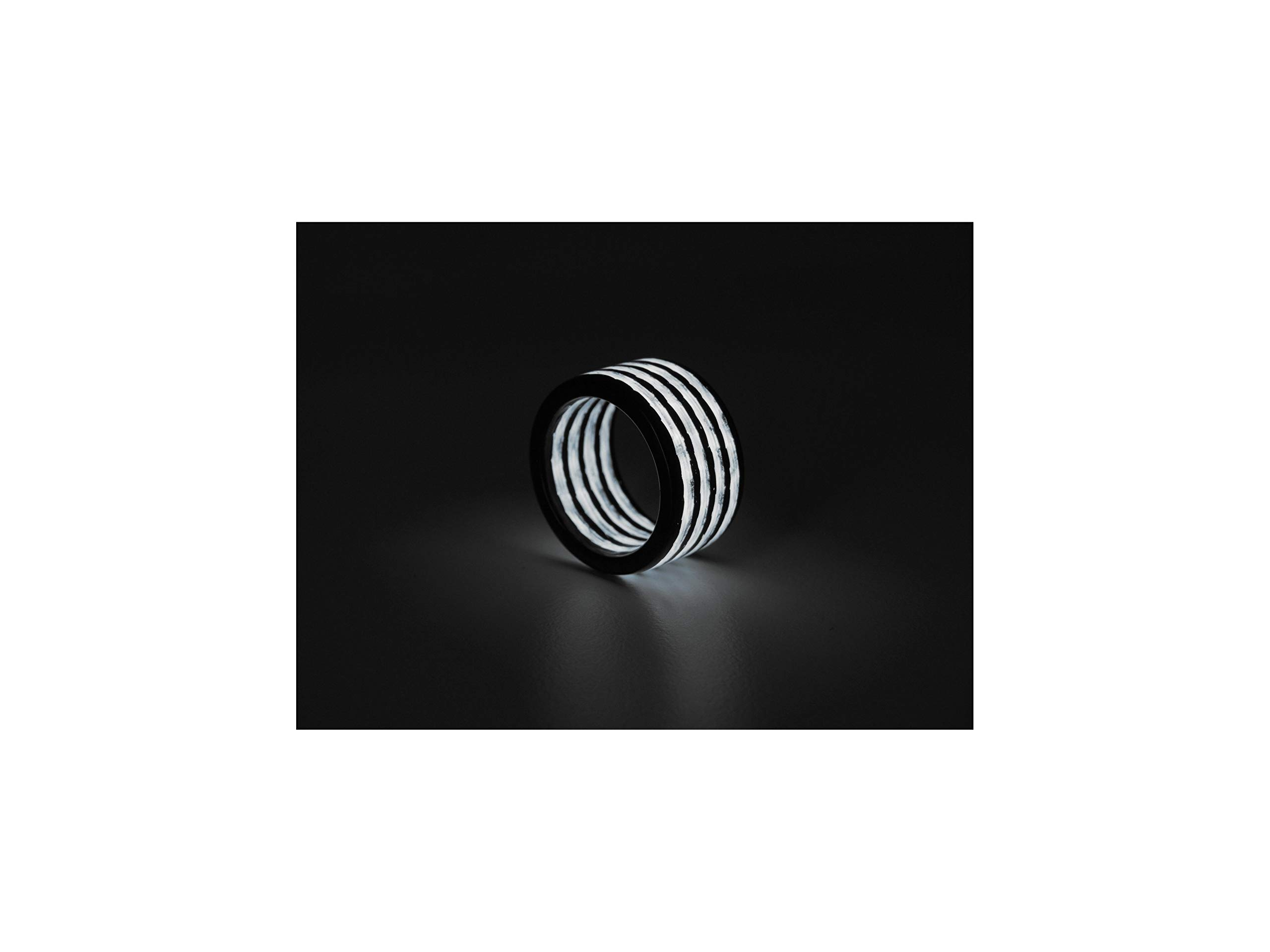 Rune Refinery CarbonFi: As Seen on Kickstarter Glow in The Dark Carbon Fiber Ring for Men & Women, Perfect Wedding Bands, Birthday Gifts & Engagement Band, White, 1/2'' Wide, Size 10.5