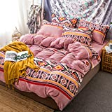 LELVA Bohemian Bedding Sets Boho Duvet Cover Set 4 Piece Velvet Bedding Ethnic Exotic Style Reversible (Pattern #9, Full)