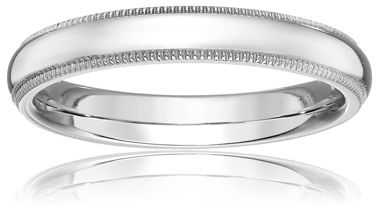 Standard Comfort-Fit Platinum Milgrain Band, 3mm, Size 4