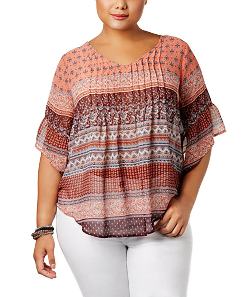 Style & Co. Plus Size Mixed-Print Pintucked Blouse (Saloon Stripe, 3X)