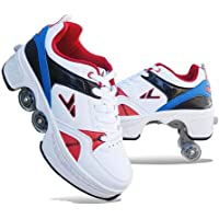 Tênis de skate com quatro rodas e rodinhas para mulheres adultas com deformação, patinação quádrupla retrátil