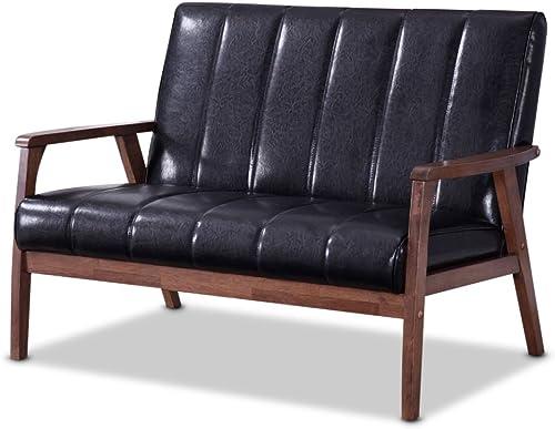 Baxton Furniture Studios Nikko Mid-Century Modern Scandinavian Style Faux Leather Wooden 2 Seater Loveseat