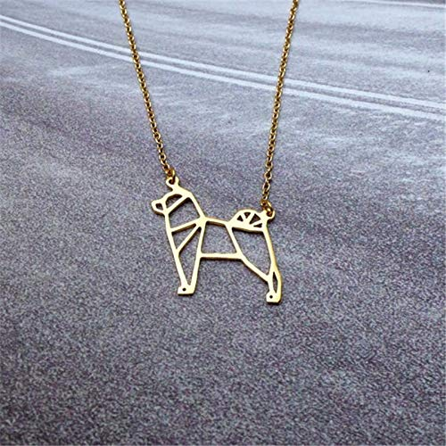 2017unique Cute Origami Labrador Dog Animal pet Pendant Choker Necklace for Women Girls Delicate Christmas Fashion Gift Jewelry - (Metal Color: Black Gun Plated)