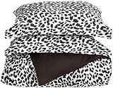 Elite Home Regal Collection 300 Thread-Count Cheetah Print Full/Queen 3-Piece Duvet Set, Black/White