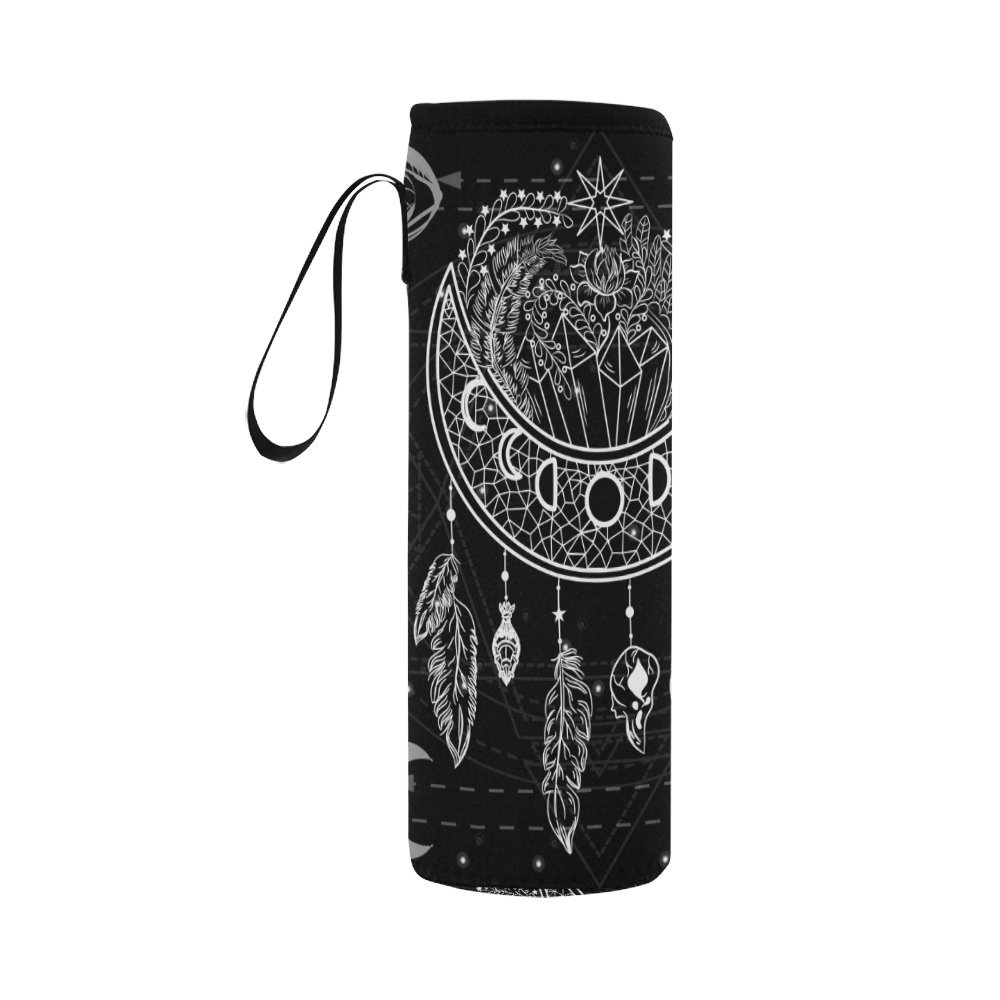 InterestPrint Moon Dreamcatcher Flowers Neoprene Water Bottle Sleeve Insulated Holder Bag 16.90oz-21.12oz, Boho Black and White Sport Outdoor Protable Cooler Carrier Case Pouch Cover with Handle