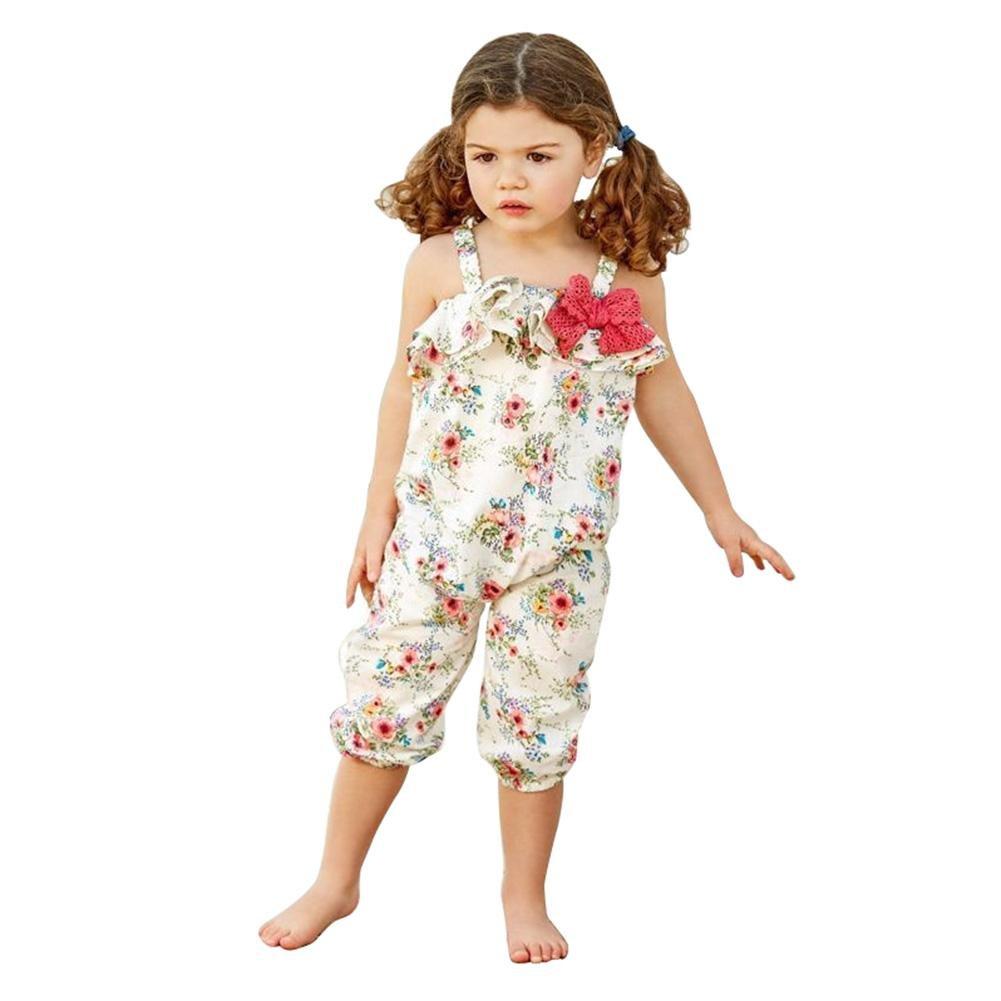 Chinatera Little Girls Halter Harem Romper, Floral Print Jumsuit, One-Pieces Summer Cloth for Toddler Girl (Beige-Roses, 2T/3T)