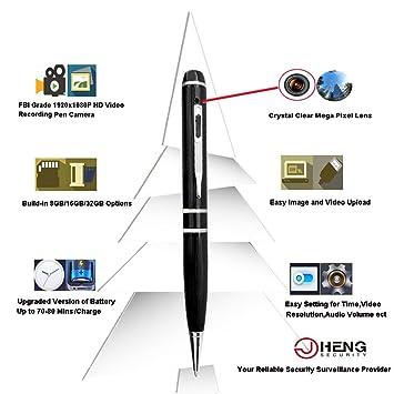 JC 32 GB 1080P Cámara Espía Bolígrafo 5 MP H264 Kit de grabación FBI grado: Amazon.es: Electrónica