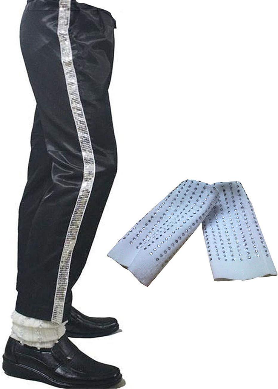 Shuanghao Halloween Cosplay Costume Adatto per i Fan di Michael Jackso Cosplay 4 Pezzi MJ Billie Jeans Jacket Pant Socks Glove