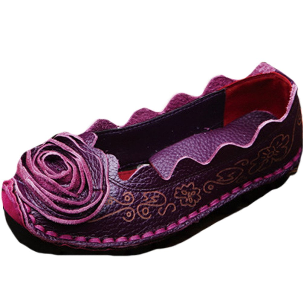 Mordenmiss Women's Fall New Flat Flower Pattern Shoes 38 Style1-Purple by Mordenmiss (Image #1)