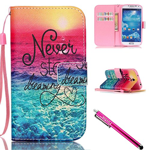 Galaxy S4 Case, Galaxy S4 Wallet Case, Firefish [Kickstand] Design [Card/Cash Slots] Premium PU Leather Wallet Flip Cover with Wrist Strap for Samsung Galaxy S4 (Pocket Laser Light Show)