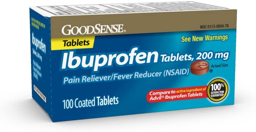 GoodSense Ibuprofen Tablets, 200 mg, Pain Reliever and Fever Reducer, 100 Count, Temporarily Relieves Minor Aches and Pains Due to: Headaches, Minor Pain of Arthritis, and the Common Cold