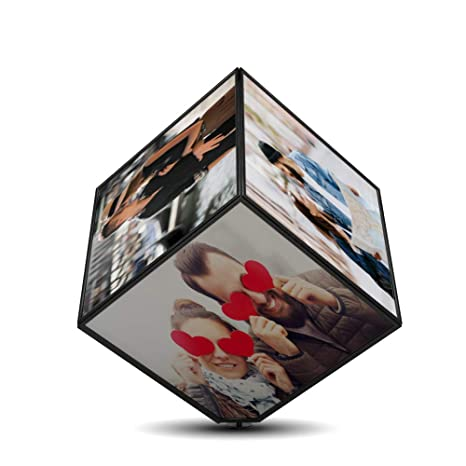 6eae44a75074 Image Unavailable. Image not available for. Colour  k1gifts Personalized  Rotation 6 Photo Plastic Cube Frame ...