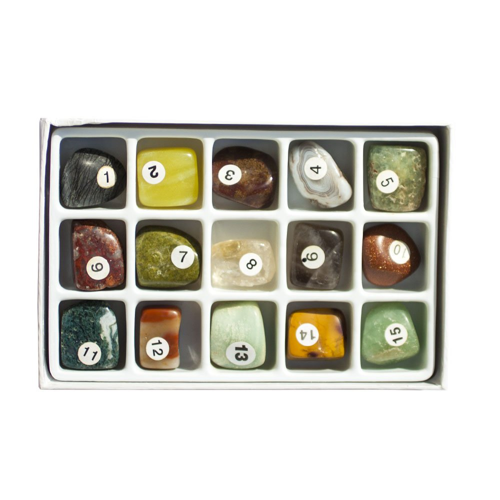 15 Semiprecisous Gemstones Polished Natural Box Collection, Large 3/4 to 1 inch (Set 4)