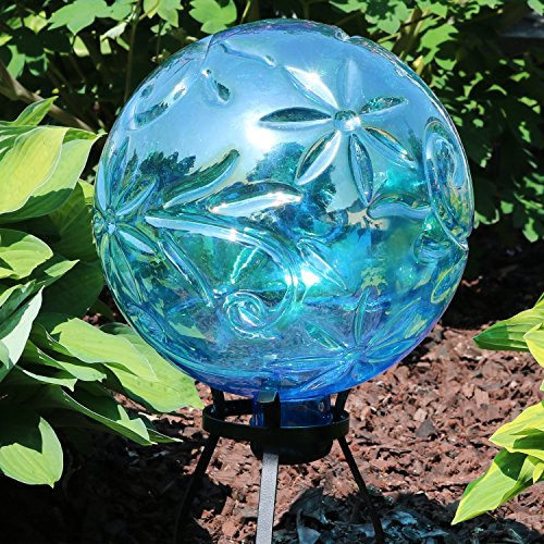 Sunnydaze Flower Pattern Gazing Globe Glass Garden Ball, Outdoor Lawn and Yard Ornament, Blue, 10-Inch by Sunnydaze Decor (Image #2)