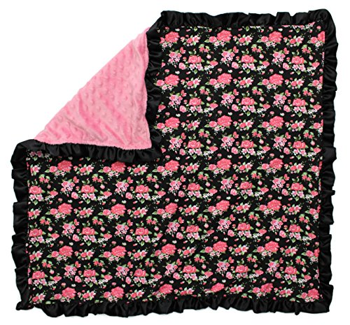 Dear Baby Gear Baby Blankets, Vintage Floral Coral on Black, Coral Minky