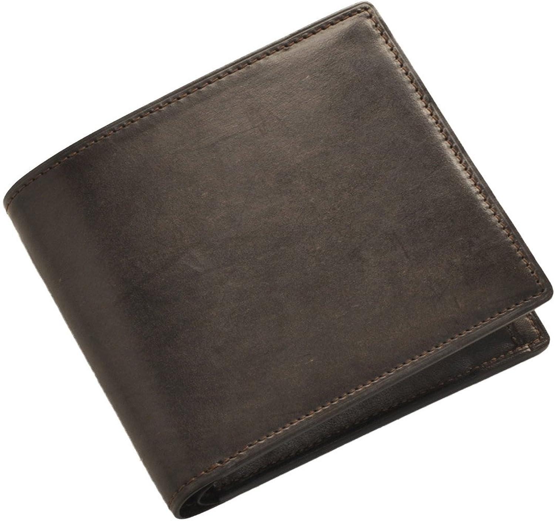 [ PRAIRIE ] 牛革 二つ 折り財布 メンズ ブライドル レザー B072MF7CBPダークブラウン