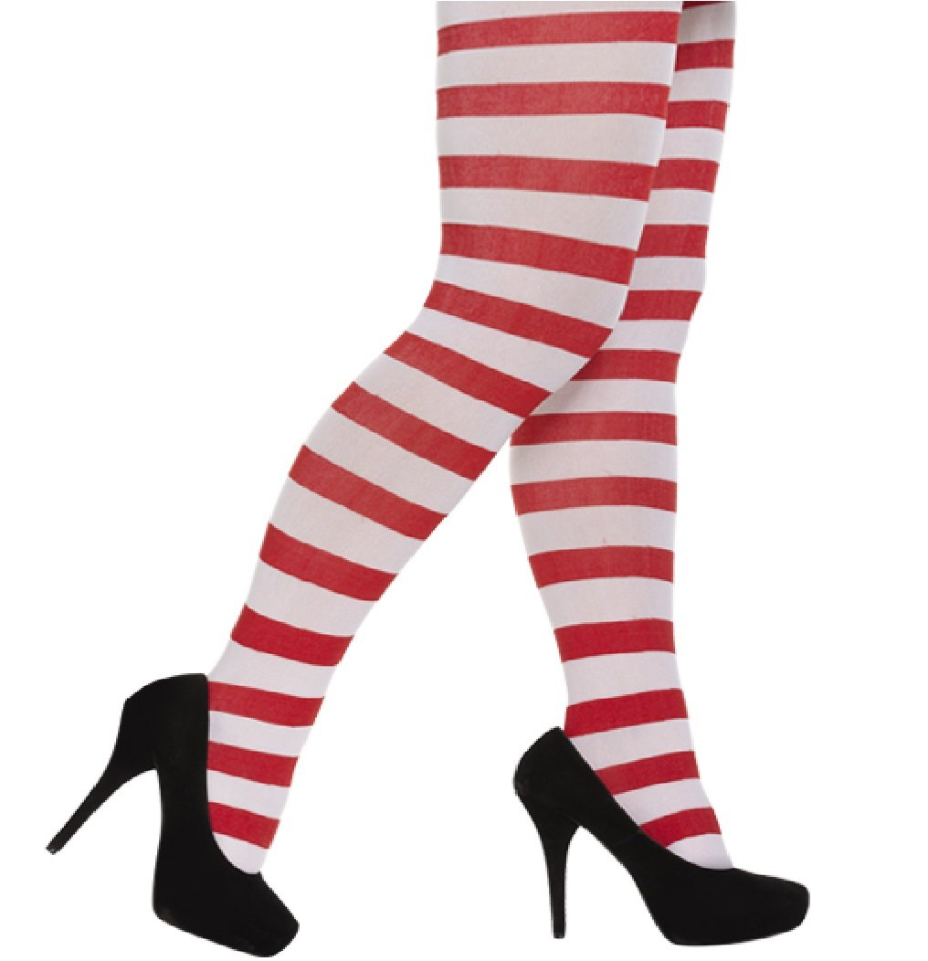 Red /& White Opaque Christmas Fancy Dress Tights Ladies One Size